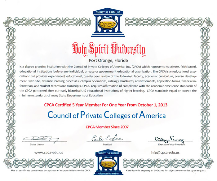 Council of Private Colleges of America Certificate